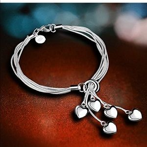 925SS Five-Line Chain w/Five-Heart Bracelet Bangle